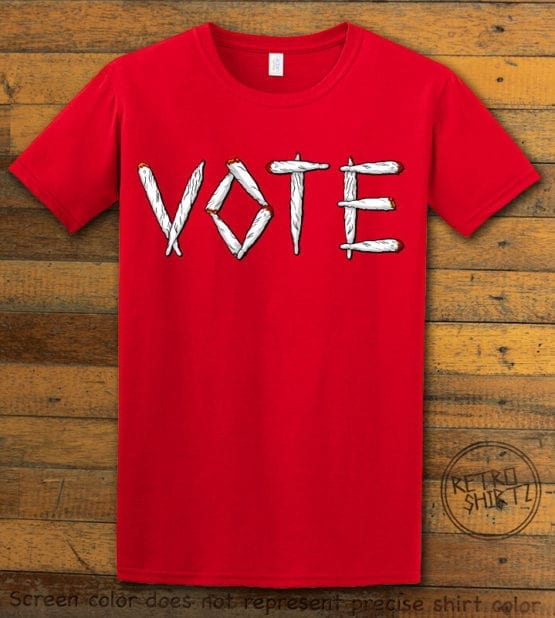This is the main graphic design on a red shirt for the Weed Shirt: Vote Legalize Marijuana