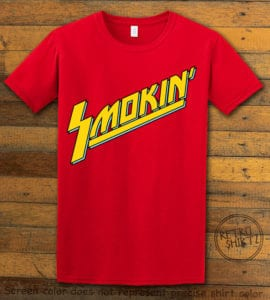 This is the main graphic design on a red shirt for the Weed Shirt: Smokin Rockstar