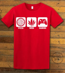 This is the main graphic design on a red shirt for the Weed Shirt: Pizza Weed Gaming