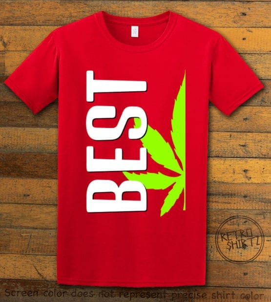 This is the main graphic design on a red shirt for the Weed Shirt: Best of Best Buds