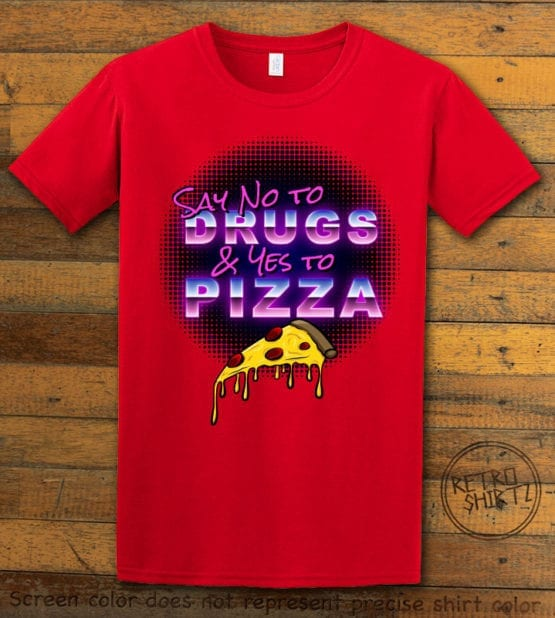 This is the main graphic design on a red shirt for the Weed Shirt: Pizza Not Drugs