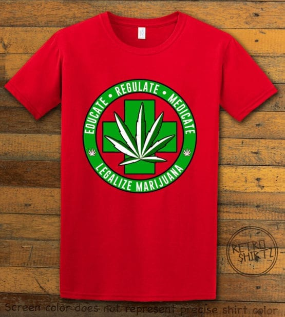 This is the main graphic design on a red shirt for the Weed Shirt: Legalize Medical Marijuana