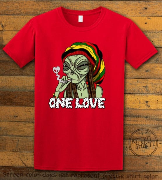 This is the main graphic design on a red shirt for the Weed Shirt: Rasta Alien