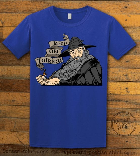 This is the main graphic design on a royal shirt for the Weed Shirt: Gandalf Smoking Pipeweed