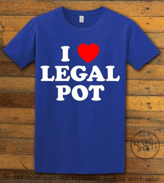 This is the main graphic design on a royal shirt for the Weed Shirt: I Heart Pot
