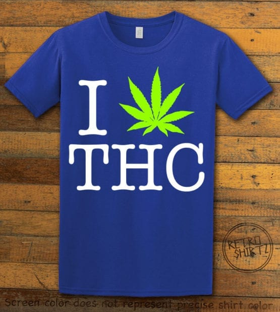 This is the main graphic design on a royal shirt for the Weed Shirt: I Heart THC
