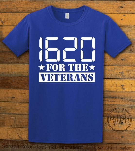 This is the main graphic design on a royal shirt for the Weed Shirt: 1620 Veterans