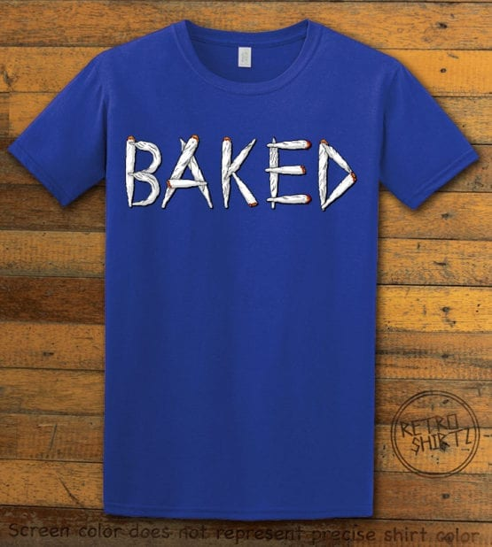 This is the main graphic design on a royal shirt for the Weed Shirt: Baked Joint Letters