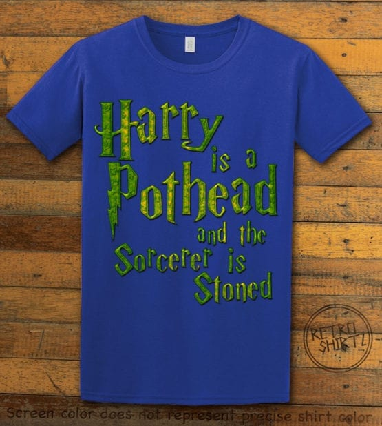 This is the main graphic design on a royal shirt for the Weed Shirt: Harry is a Pothead