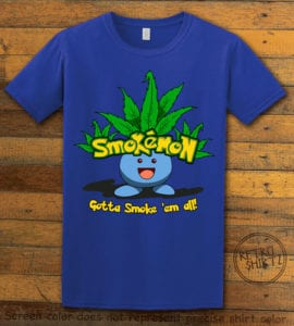 This is the main graphic design on a royal shirt for the Weed Shirt: Smokemon Oddish Pot Leaf