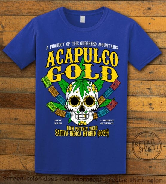 This is the main graphic design on a royal shirt for the Weed Shirt: Acapulco Gold Sativa Indica Hybrid