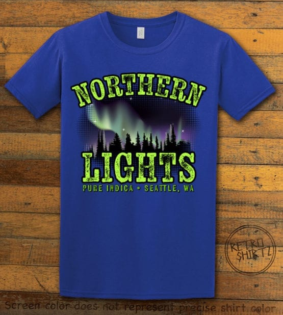 This is the main graphic design on a royal shirt for the Weed Shirt: Northern Lights Indica