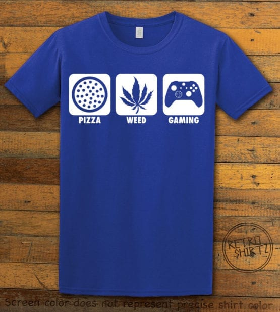 This is the main graphic design on a royal shirt for the Weed Shirt: Pizza Weed Gaming