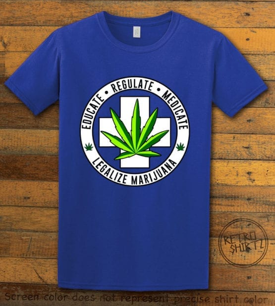 This is the main graphic design on a royal shirt for the Weed Shirt: Legalize Medical Marijuana