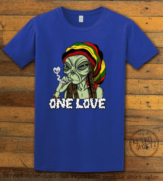 This is the main graphic design on a royal shirt for the Weed Shirt: Rasta Alien