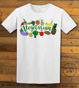 This is the main graphic design on a white shirt for the Weed Shirt: Vegetarian