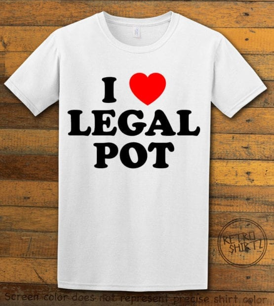 This is the main graphic design on a white shirt for the Weed Shirt: I Heart Pot