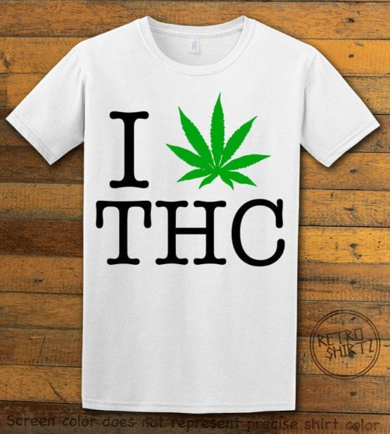 This is the main graphic design on a white shirt for the Weed Shirt: I Heart THC