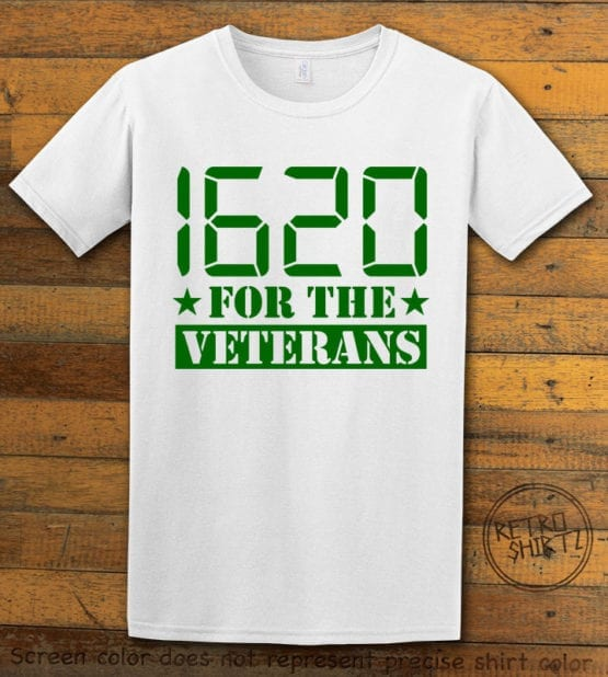 This is the main graphic design on a white shirt for the Weed Shirt: 1620 Veterans