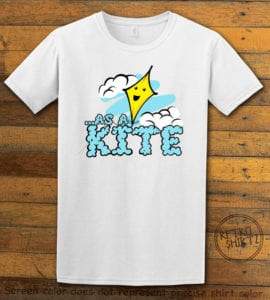 This is the main graphic design on a white shirt for the Weed Shirt: High as a Kite