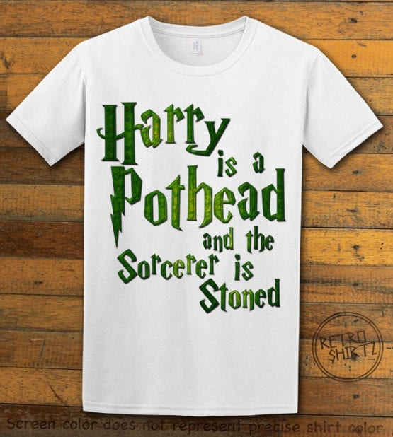 This is the main graphic design on a white shirt for the Weed Shirt: Harry is a Pothead