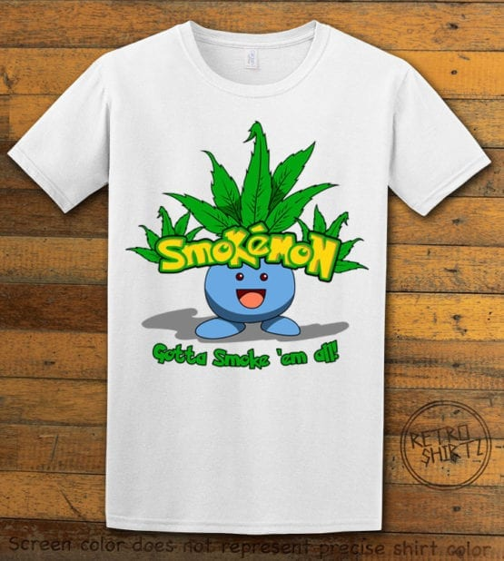 This is the main graphic design on a white shirt for the Weed Shirt: Smokemon Oddish Pot Leaf