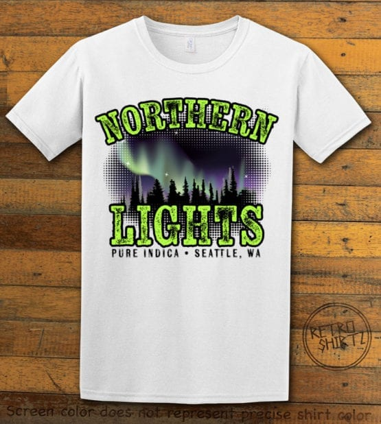 This is the main graphic design on a white shirt for the Weed Shirt: Northern Lights Indica