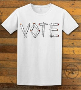 This is the main graphic design on a white shirt for the Weed Shirt: Vote Legalize Marijuana