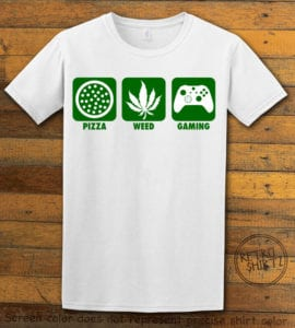This is the main graphic design on a white shirt for the Weed Shirt: Pizza Weed Gaming