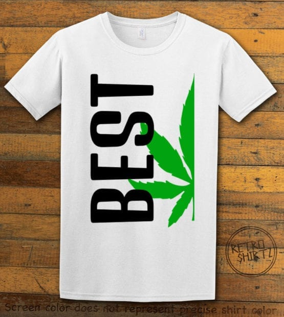 This is the main graphic design on a white shirt for the Weed Shirt: Best of Best Buds