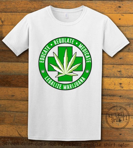 This is the main graphic design on a white shirt for the Weed Shirt: Legalize Medical Marijuana