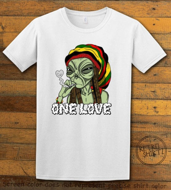 This is the main graphic design on a white shirt for the Weed Shirt: Rasta Alien