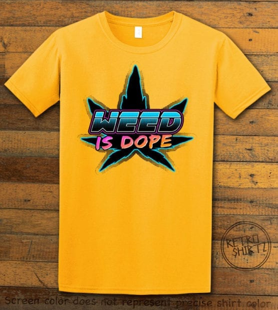 This is the main graphic design on a yellow shirt for the Weed Shirt: Weed is Dope