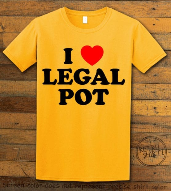 This is the main graphic design on a yellow shirt for the Weed Shirt: I Heart Pot