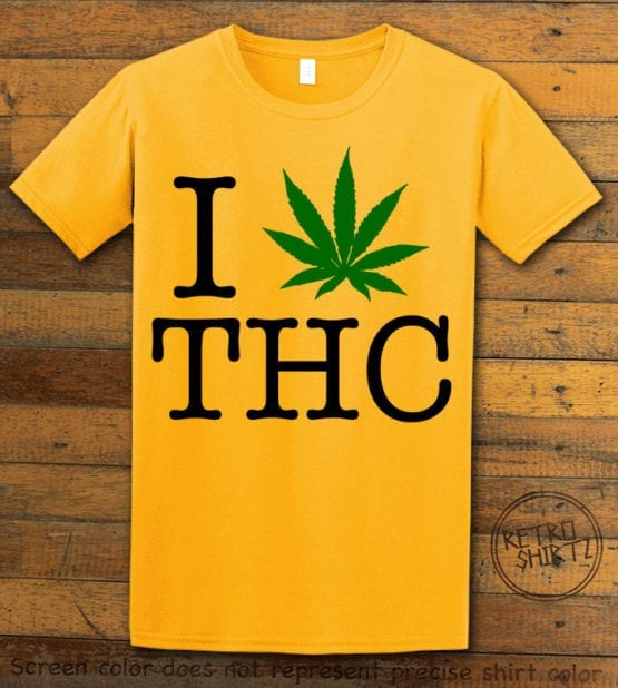 This is the main graphic design on a yellow shirt for the Weed Shirt: I Heart THC