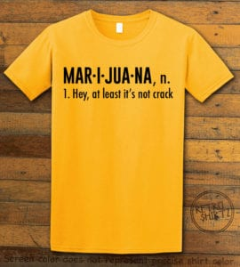 This is the main graphic design on a yellow shirt for the Weed Shirt: Marijuana Definition
