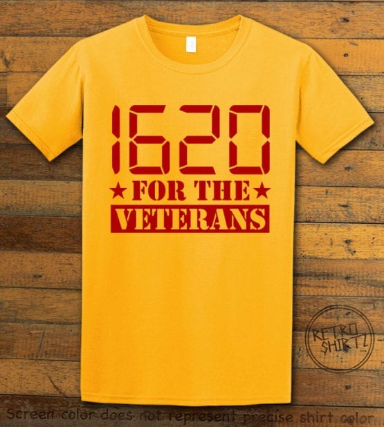 This is the main graphic design on a yellow shirt for the Weed Shirt: 1620 Veterans
