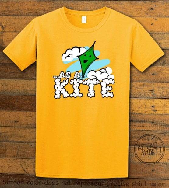 This is the main graphic design on a yellow shirt for the Weed Shirt: High as a Kite