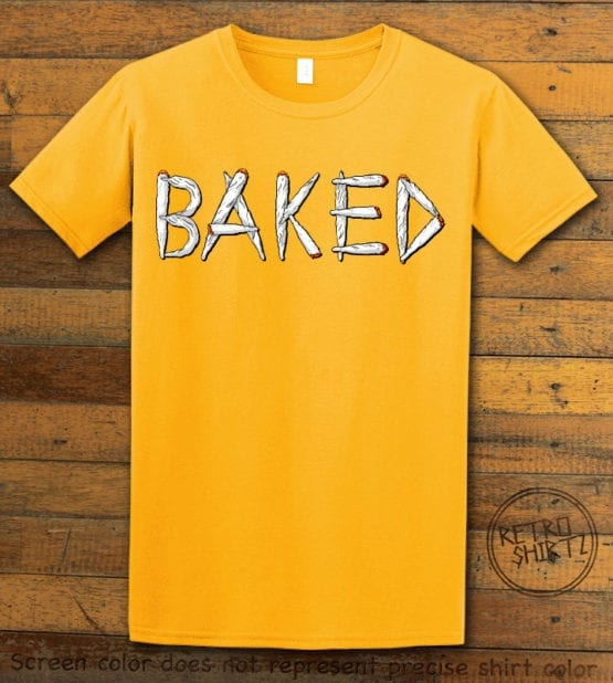 This is the main graphic design on a yellow shirt for the Weed Shirt: Baked Joint Letters
