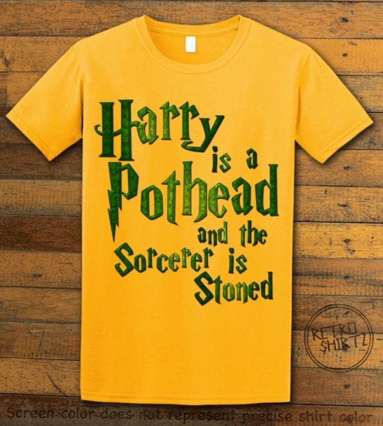 This is the main graphic design on a yellow shirt for the Weed Shirt: Harry is a Pothead
