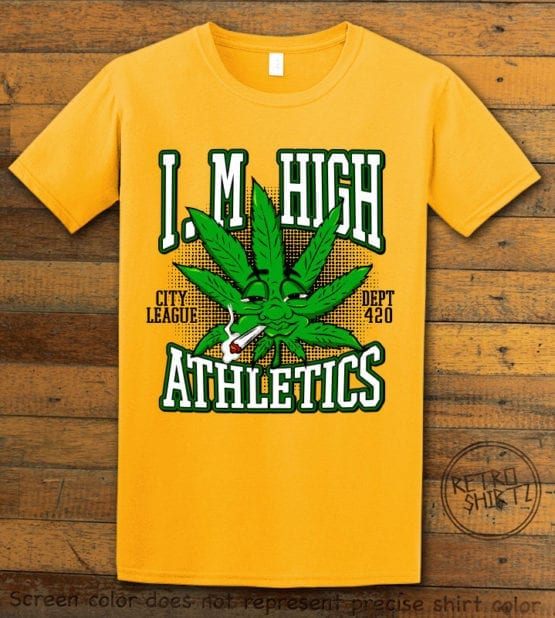 This is the main graphic design on a yellow shirt for the Weed Shirt: Marijuana High School