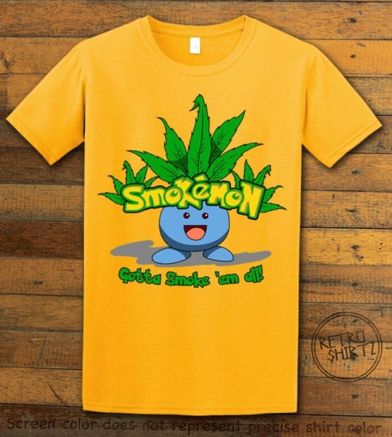 This is the main graphic design on a yellow shirt for the Weed Shirt: Smokemon Oddish Pot Leaf