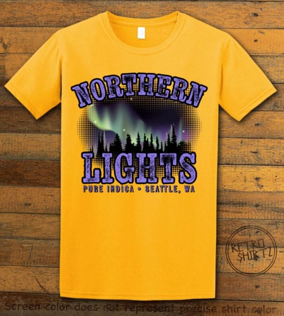 This is the main graphic design on a yellow shirt for the Weed Shirt: Northern Lights Indica