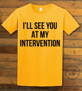 This is the main graphic design on a yellow shirt for the Weed Shirt: Drug Intervention