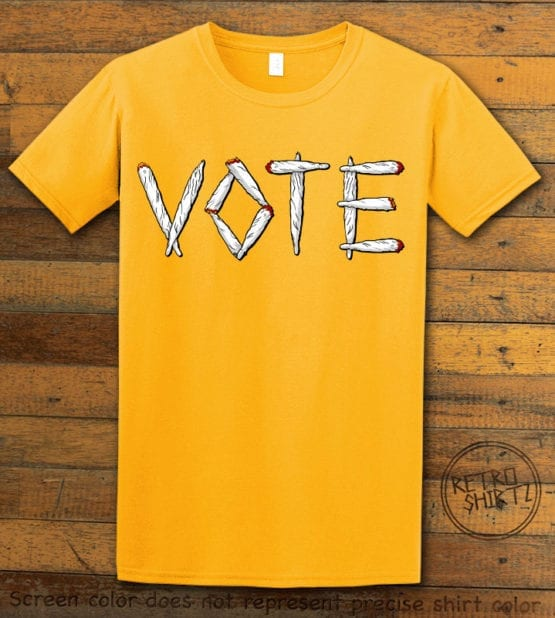 This is the main graphic design on a yellow shirt for the Weed Shirt: Vote Legalize Marijuana