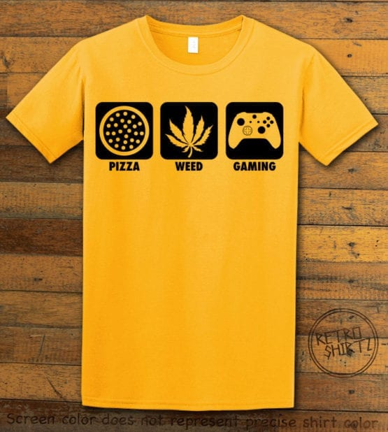 This is the main graphic design on a yellow shirt for the Weed Shirt: Pizza Weed Gaming