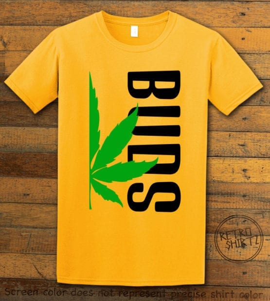 This is the main graphic design on a yellow shirt for the Weed Shirt: Buds of Best Buds