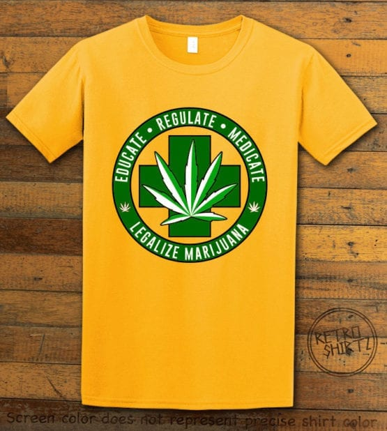 This is the main graphic design on a yellow shirt for the Weed Shirt: Legalize Medical Marijuana