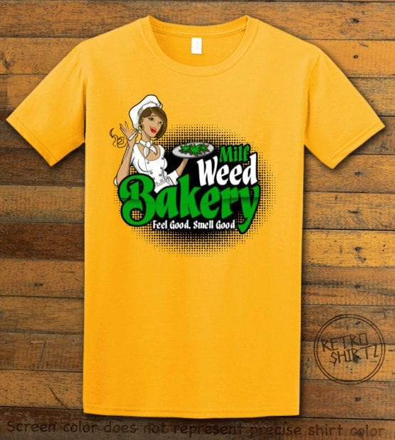 This is the main graphic design on a yellow shirt for the Weed Shirt: Milf Weed Bakery