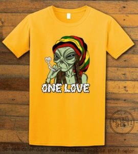 This is the main graphic design on a yellow shirt for the Weed Shirt: Rasta Alien